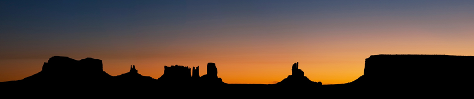 The predawn light over Monument Valley in Utah.
